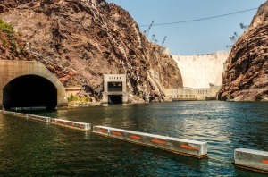 THE CAP IN TAKES WATER BENEATH HOOVER DAM.