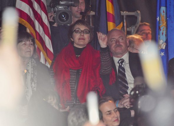 On a cool night in the desert Gabby Giffords came home one year after her shooting.