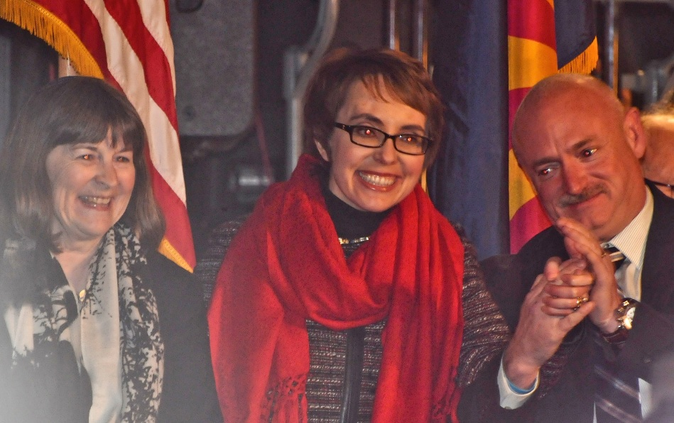 The Congress women was escorted by her husband Mark Kelly, and her rabbi.