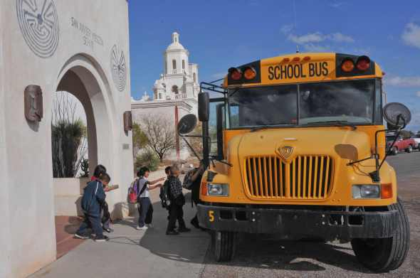 Students file out of the San Xavier Mission School