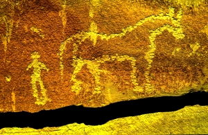 This rock art in southern Utah commemorates the first time the two meet.