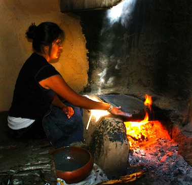 HOPI WOMEN have been making the ceremonial PIKI Bread for centuries in a special cooking space behind the main house
