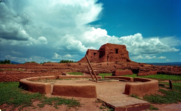 PECOS PUEBLO stood at the Cross Roads of the Great Plains and the Rio Grande Pueblo Communities.