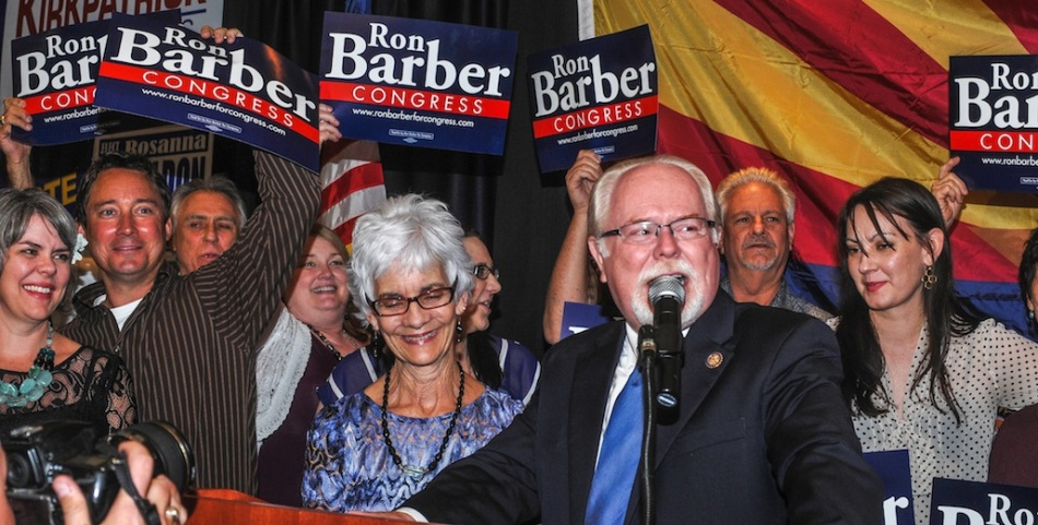 AT LAST COUNT RON BARBER HELD A 500 VOTE OVER HIS REPUBLICAN OPPONENT MARTHA McSALLY