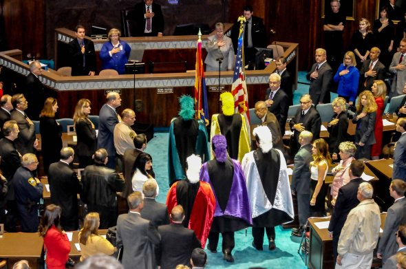 THE SAN XAVIER DEL BAC COLOR GUARD INSTALLED THE FLAG FOR THE OPENING 51ST SESSION OF THE AZ LEGISLATURE.