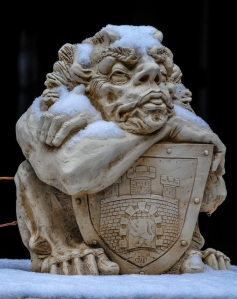 THIS SADDLEBROOKE GARGOYLE SHOWS LITTLE ENTHUSIASM FOR THIS CHANGE IN THE WEATHER-NO REAL FAN OF SNOW...