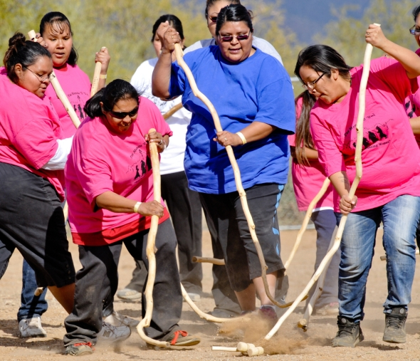 Tohono  O'Odham women for centuries have played this lacrosse style stick game.