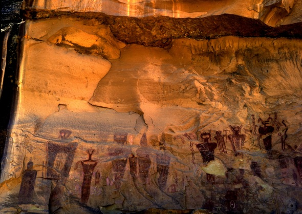 Mid-Utah Fremont Culture drew this panel in Sego Canyon east of the Barrier Canyon Style display in Horseshoe Canyon, which was drawn by the Anasazi ancestors of the Basket-Maker Culture