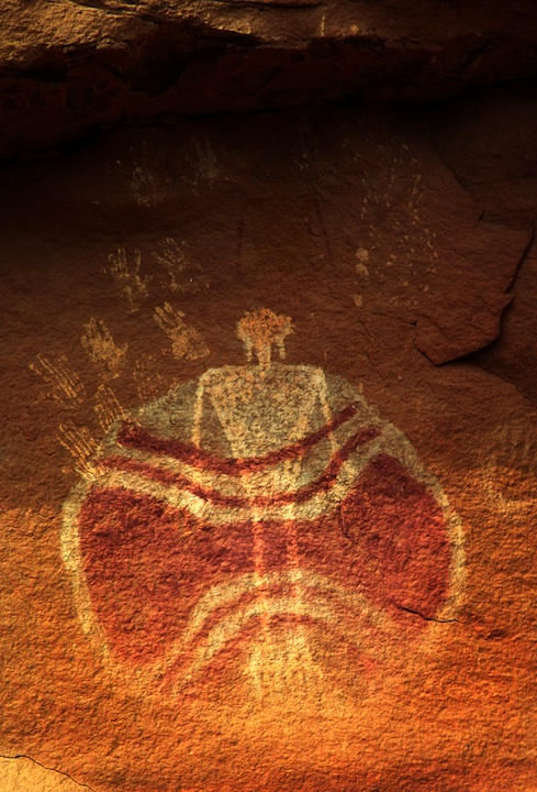 """Baseball Man"" perhaps the most intriguing rock art painting in the Chinle Wash System."