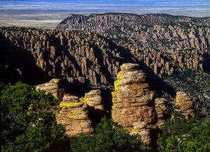Massi Point in the Chiricahua National Monument over looks the Sulpher Springs Valley.
