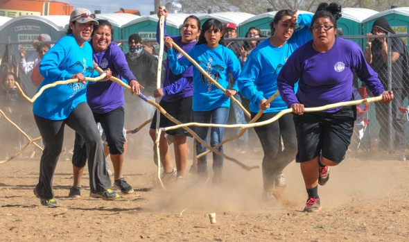 The annual tournament is held as a sidebar to the rodeo, powwow and midway.  It's open only to women of any age and the competition is fierce and generational.