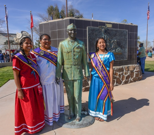 Tohono Oodham Royalty Malaya Antone, 21, left and her court