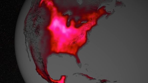 The Midwest region of the United States boasts more photosynthetic activity than any other spot on Earth we find chlorophyl emits a fraction of absorbed light as a fluorescent glow