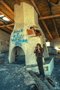 The freestanding fireplace the center of the love nest shared by Barbara Streisand and Kris Kristoferson in the Sonoita, AZ area.  It stood for years as a testimony to the Power of Rock and Roll but one night it burned and was wiped from the face of the earth by day break.