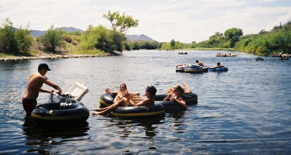 ASU students traditionally have migrated to the Salt River to cool off and drink some beer tubing down stream