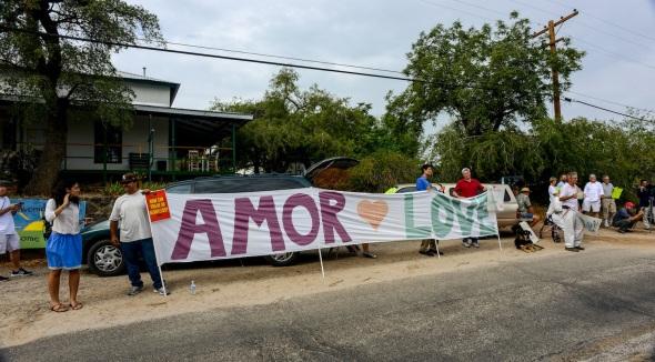 Twenty-five foot banner screamed love instead of Go Home Illegals
