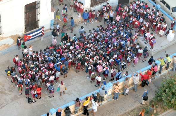 ROOF TOP VIEW OF CUBA ELEMENTARY PRESCHOOL MORNING CEREMONIES