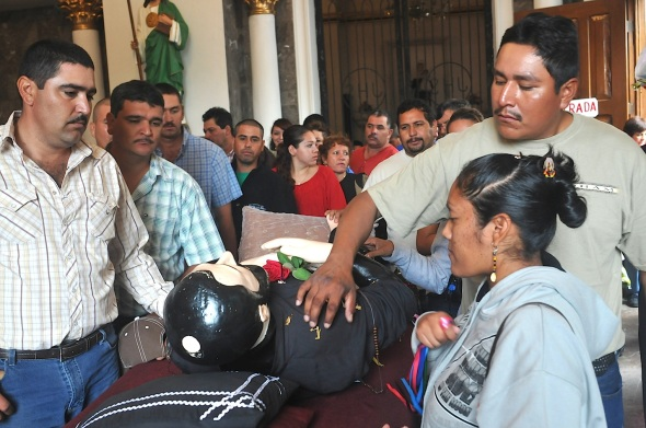 This year many Tohono Oodham were bused to Magdalena due to threats of personal injury for pilgrims by drug cartel members.