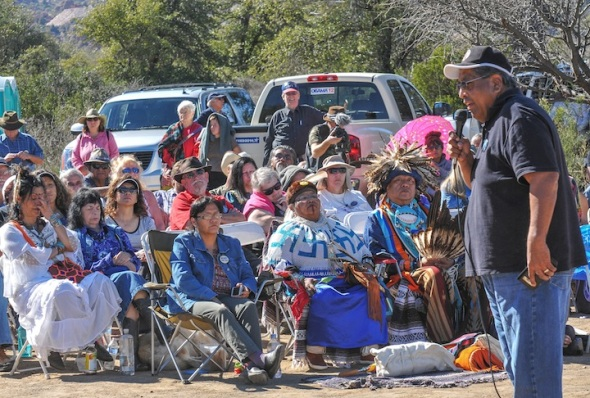 Crowd listens to Tribal leaders following the Blessing Ceremony