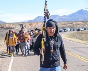 Wendsler Nosie Sr. leads his people on the march to Oak Flat.