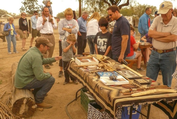 """""""I love to making Clovis points"""", says Allen Denoyer who often demonstrates prehistoric technologies at Steam Pump Ranch on Saturday mornings."""