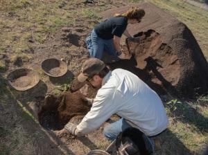 Allan Denoyer mixes adobe mud for the walls of this 1300 era Pueblo.
