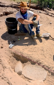 JOE HALL (Sierra Vista) and DEVINNE FACKELMAN (Allendale, Mich.) together dug up this Metate and Mano.